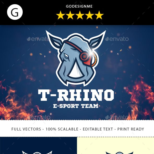 Rhino eSport Team Logo Design