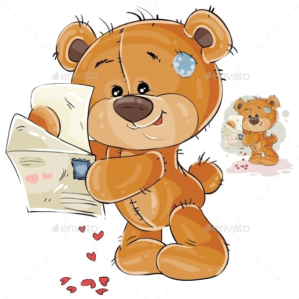 Illustration of a Brown Teddy Bear Holding Letter - Animals Characters