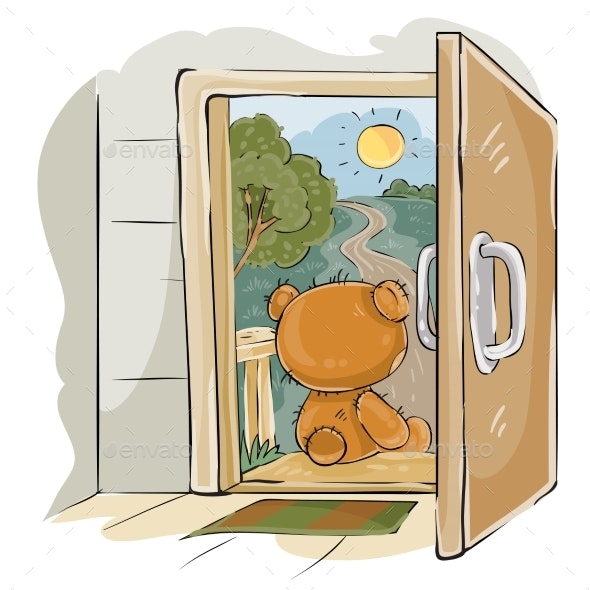 Vector Illustration of a Brown Teddy Bear Sad - Animals Characters