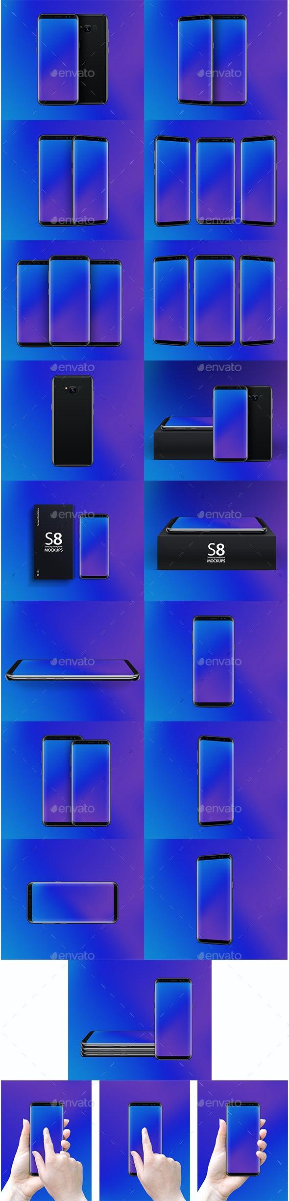 20 PSD Mockup Galaxy S8 - Mobile Displays