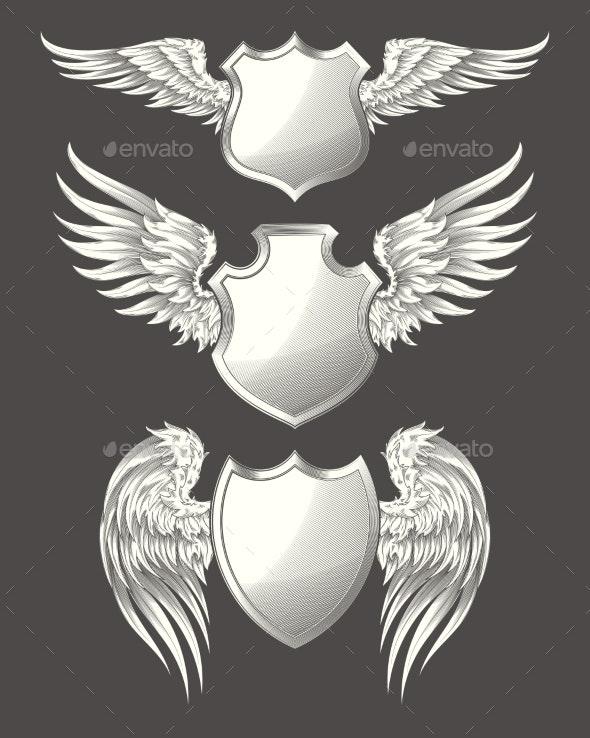 Angelic or Bird Wings with Heraldic Shield Set - Tattoos Vectors