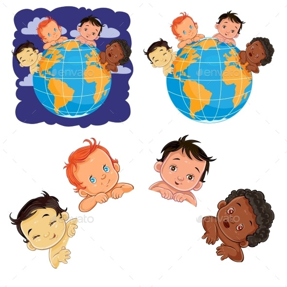 Young Children of with Different Skin Color - People Characters