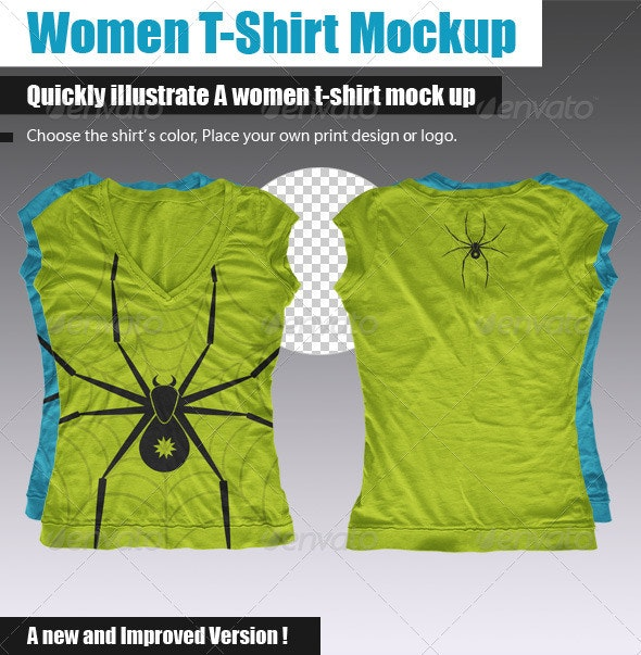 Women Multi-Sided T-Shirt Mock-Up - T-shirts Apparel