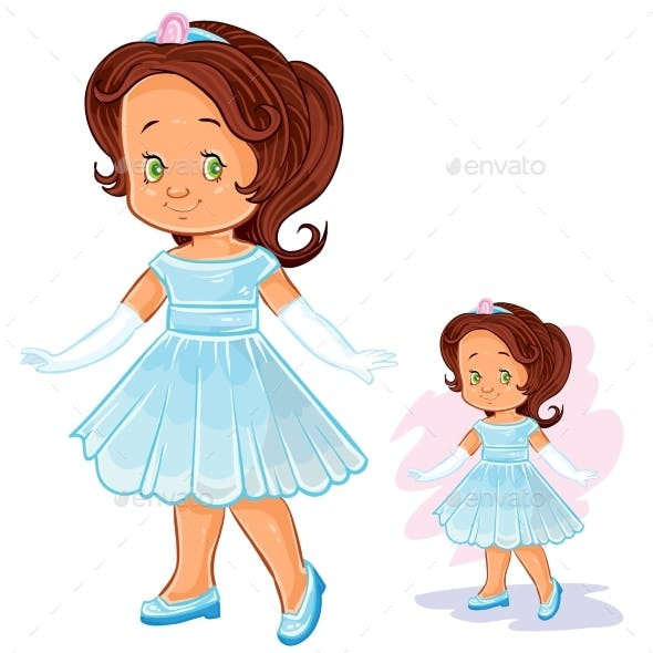 Vector Clip Art Illustration with Young Girl