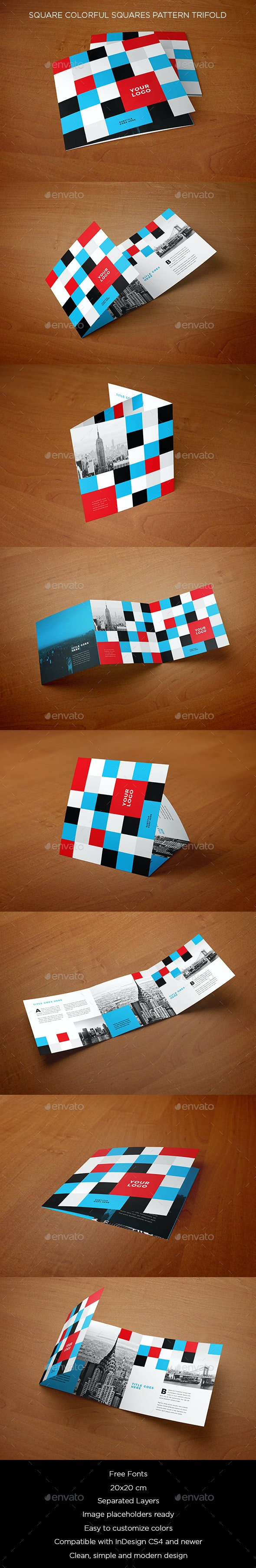 Square Colorful Squares Pattern Trifold - Brochures Print Templates