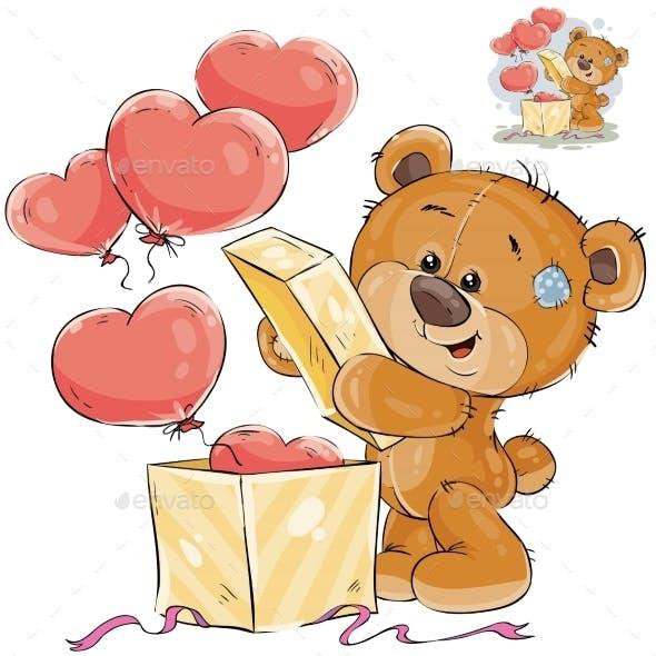 Teddy Bear Opens a Box
