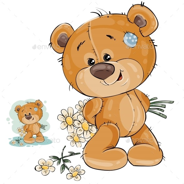 Teddy Bear Hides Bouquet of Flowers - Animals Characters