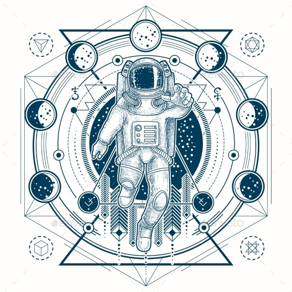 Vector Sketch of a Tattoo with Astronaut - Tattoos Vectors