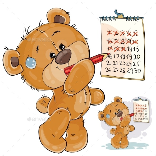 Brown Teddy Bear Strikes Out Calendar Days - Animals Characters