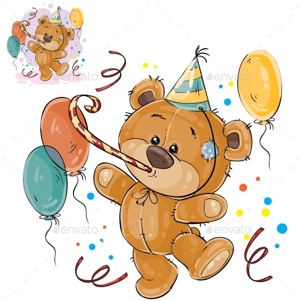 Brown Birthday Teddy Bear - Animals Characters