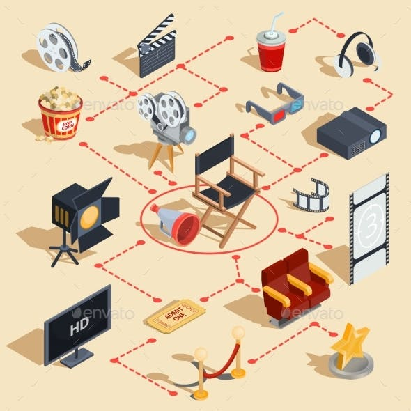 Set of Isometric Illustrations Making Movies