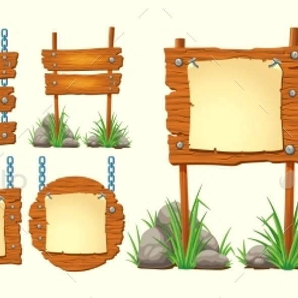 Set of Vector Cartoon Illustrations Wooden Signs