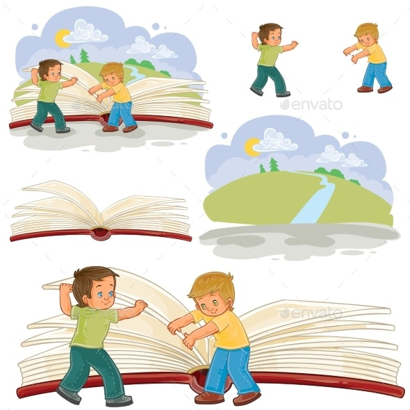 Little Boys Turn Pages - People Characters