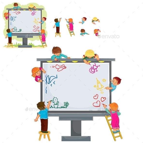 Happy Children Together Draw on a Large Billboard - People Characters