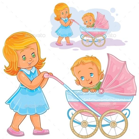 Older Sister Wheeling Baby Carriage - People Characters
