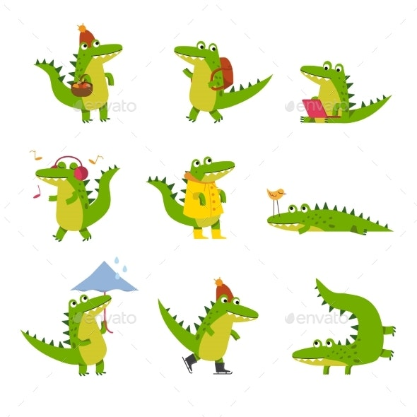 Cartoon Crocodile in Every Day Activities - Animals Characters