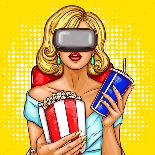 Pop Art Woman Watching Movie with Virtual Glasses - People Characters