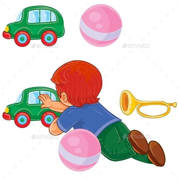 Boy Lies on His Stomach and Rolls a Car - People Characters