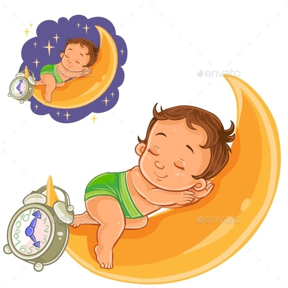 Baby in a Diaper Is Sleeping on the Moon
