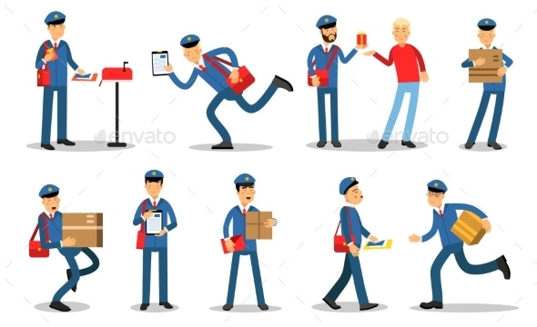 Postman Characters in Different Situations Set - People Characters