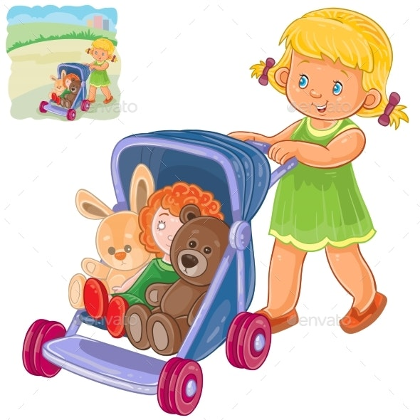 Girl Rolls the Stroller with Toys - People Characters