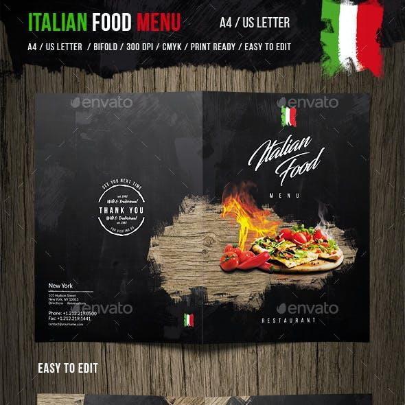 Italian Food Menu - A4 and US Letter
