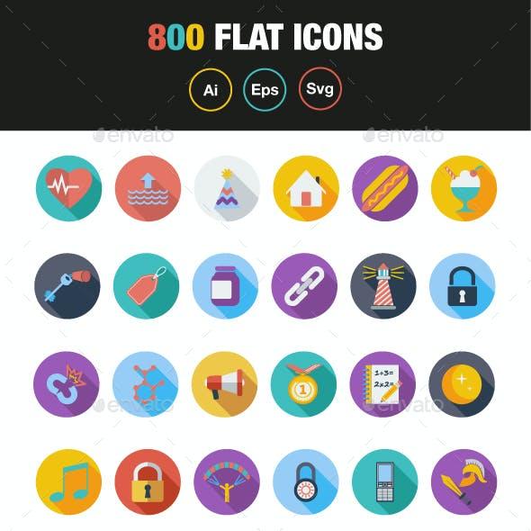 800 Flat icons