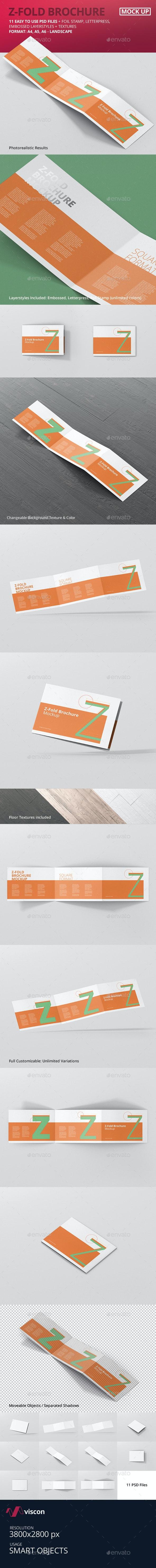 Z-Fold Brochure Mockup - Landscape Din A4 A5 A6 - Brochures Print