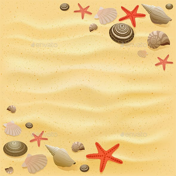 Sandy Background with Starfish and Seashells