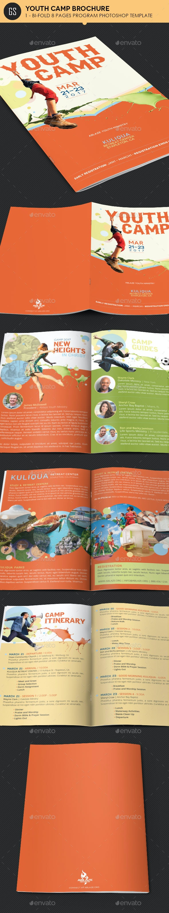Youth Camp Bi-Fold Brochure Template