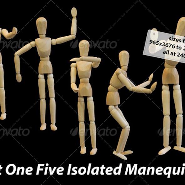Five Isolated Artist Wood Models/Mannequins (set 1)