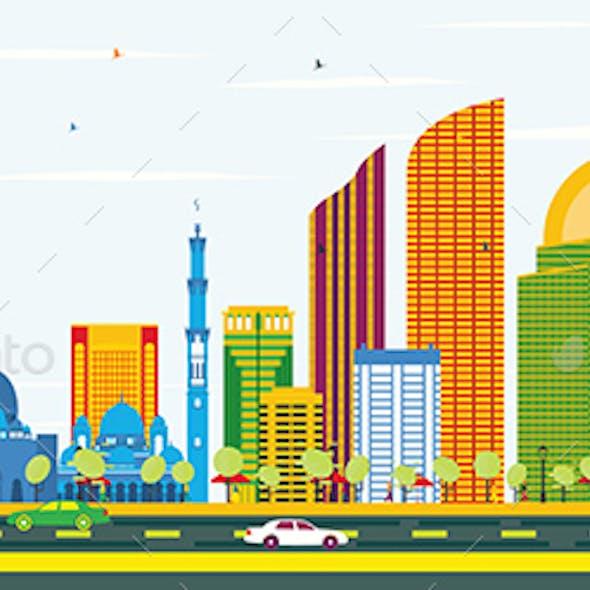 Abu Dhabi Skyline with Color Buildings and Blue Sky.