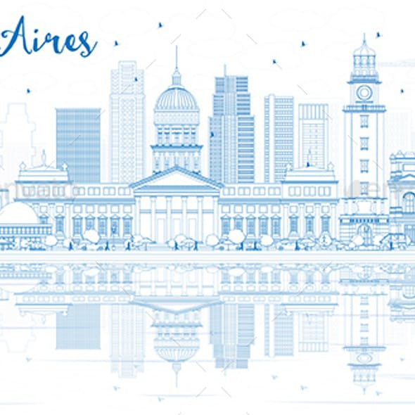 Outline Buenos Aires Skyline with Blue Landmarks and Reflections.