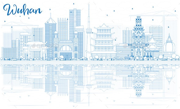 Outline Wuhan Skyline with Blue Buildings and Reflections. - Buildings Objects