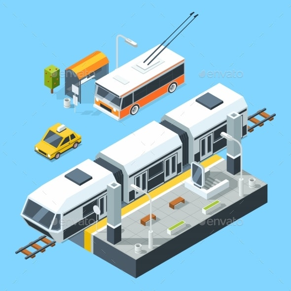 Isometric Public Transport Stations. Bus and Train - Objects Vectors