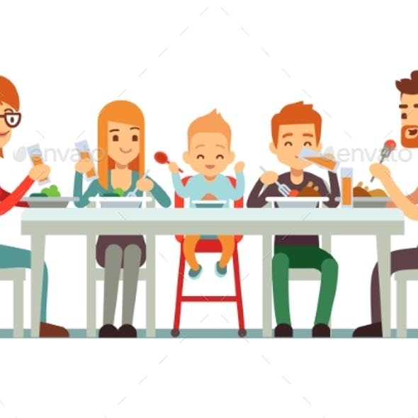Happy Big Family Eating Dinner Together Vector