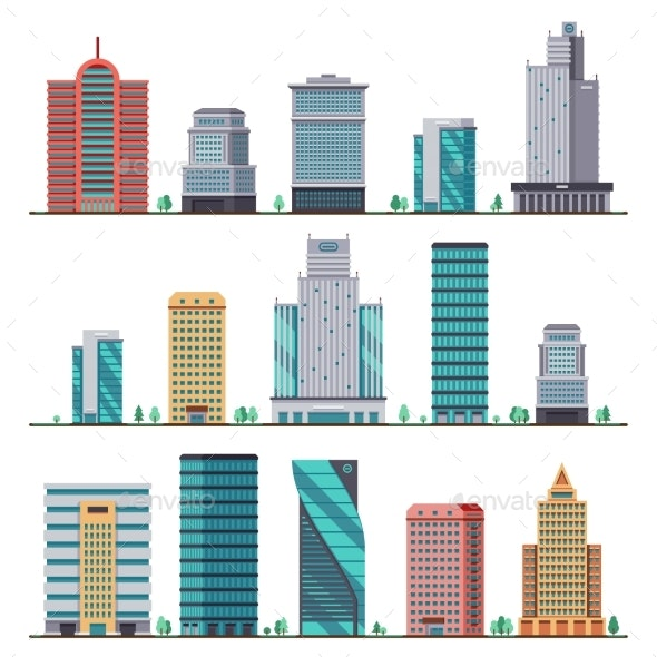 Buildings and Modern City Houses Flat Vector Icons - Buildings Objects