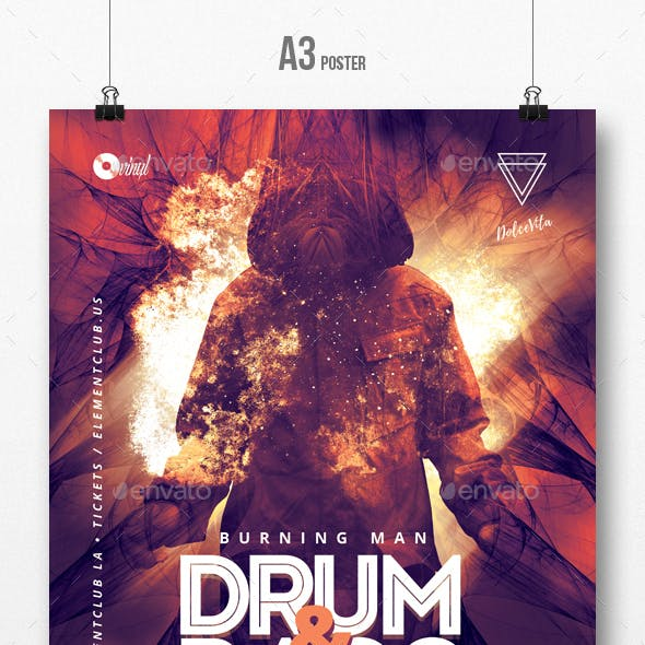Burning Man - Drum and Bass Party Flyer / Poster Template A3