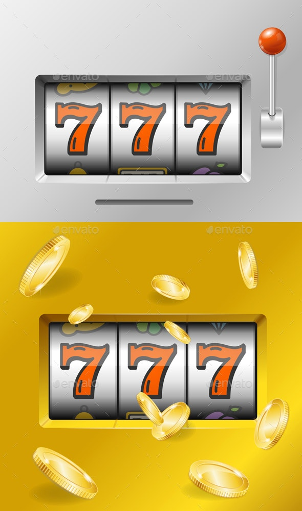 Realistic Slot Machine with Gold Coins - Miscellaneous Vectors