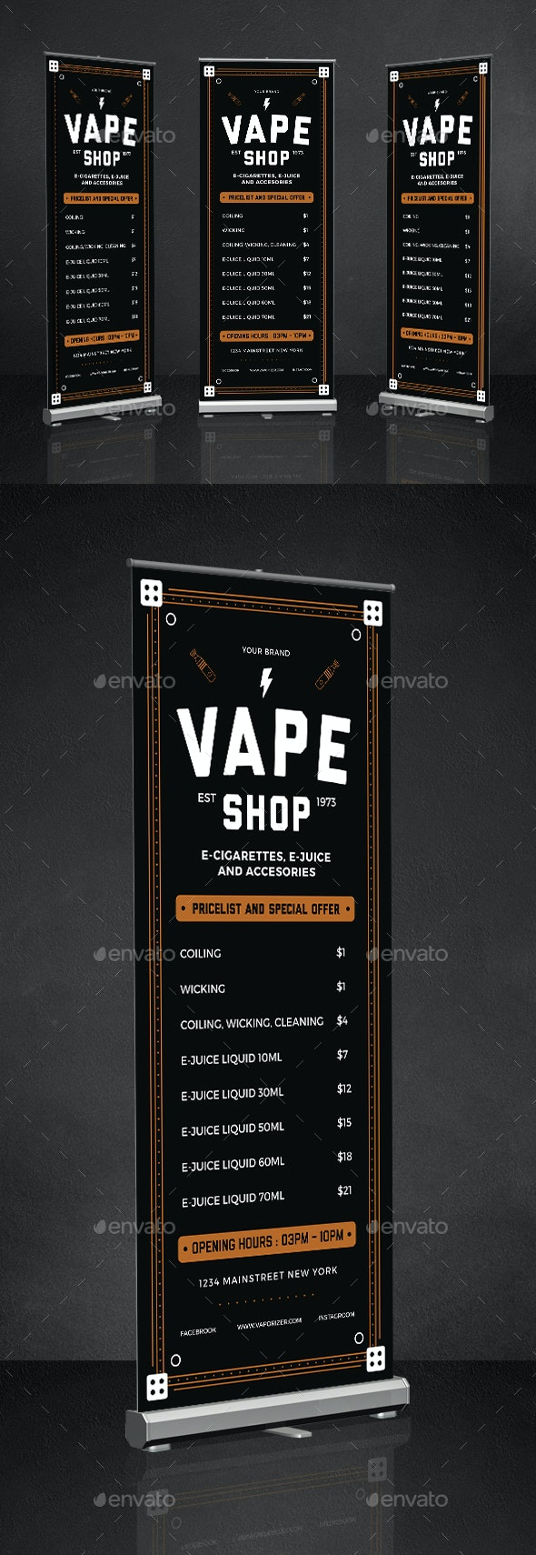 Vape Shop Roll Up Banner - Signage Print Templates