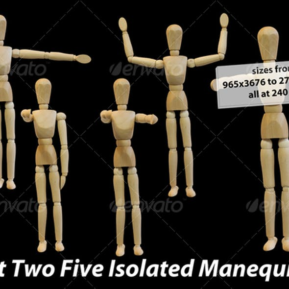 Five Isolated Artist Wood Models/Mannequins (set 2)