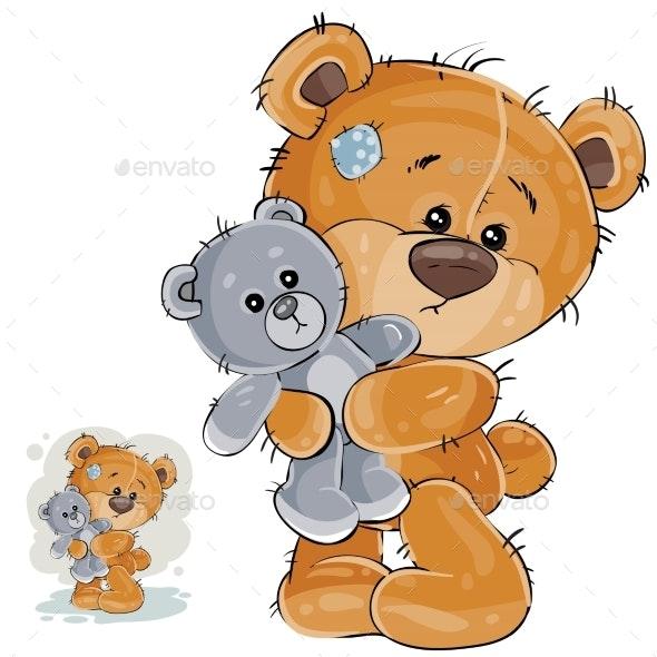 Brown Teddy Bear Hugging - Animals Characters