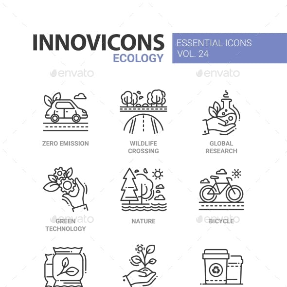Ecology - Modern Color Vector Single Line Icons