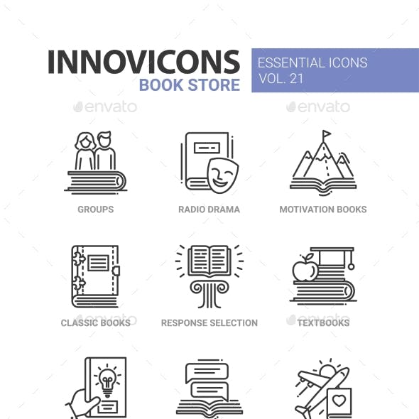 Book Store - Modern Color Vector Single Line Icons