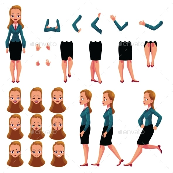 Businesswoman Character Creation Set - People Characters