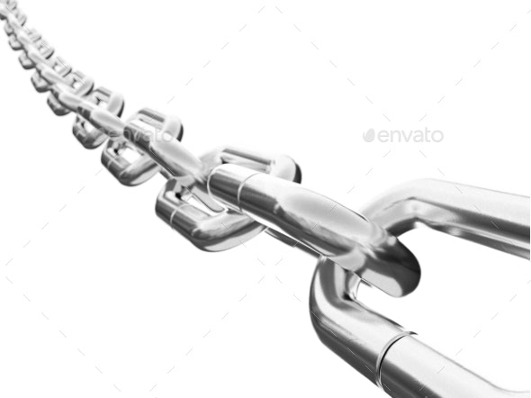 Chain on White Background Isolated - 3D Rendering - Objects 3D Renders
