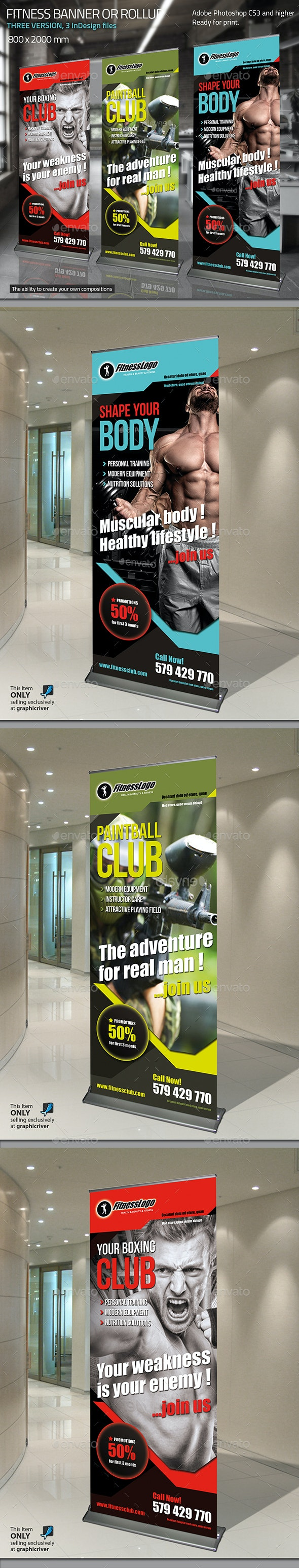 Gym Roll-up - Signage Print Templates
