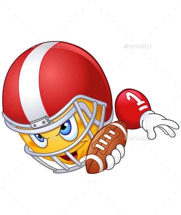 American Football Player Emoticon - Sports/Activity Conceptual