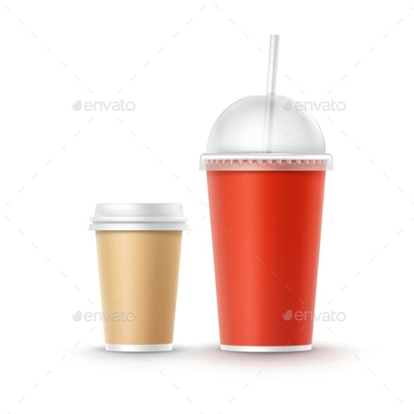 Vector Set of Cardboard Cups - Food Objects