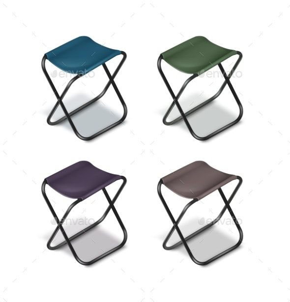Picnic Folding Chairs - Man-made Objects Objects
